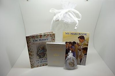 First Communion Set of 3 Catholic Books, Rosary & Bag