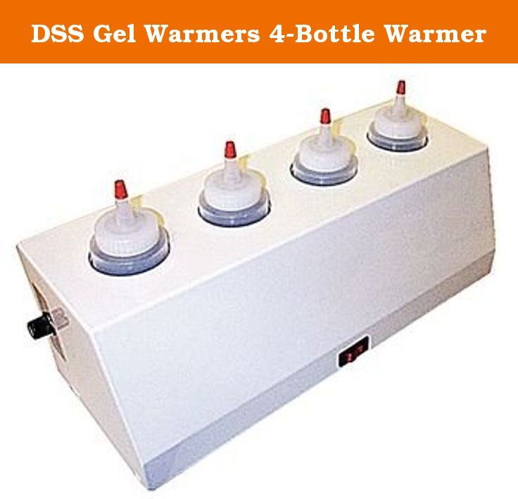 DSS Gel Warmers 4-Bottle Warmer. Stainless steel gel warmers have a lighted On/Off power switch and adjustable temperature control. Units include unit dispenser bottles and a six-foot grounded hospital grade cord. Maximum temperature: 122°F. 120V/60hz. UL and CUL listed. Holds 8 oz. bottles.