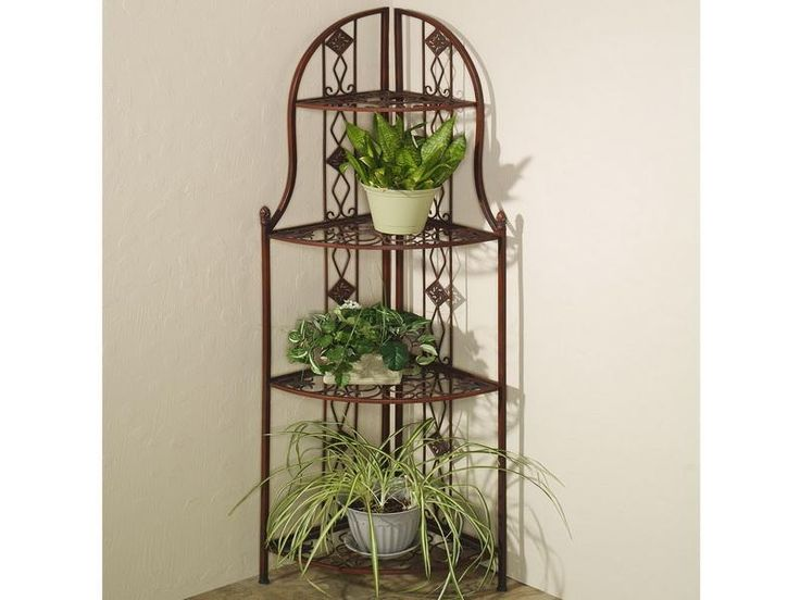 Frascati metal corner 3 tier plant stands home decor pinterest metals chang 39 e 3 and plants - Corner shelf for plants ...