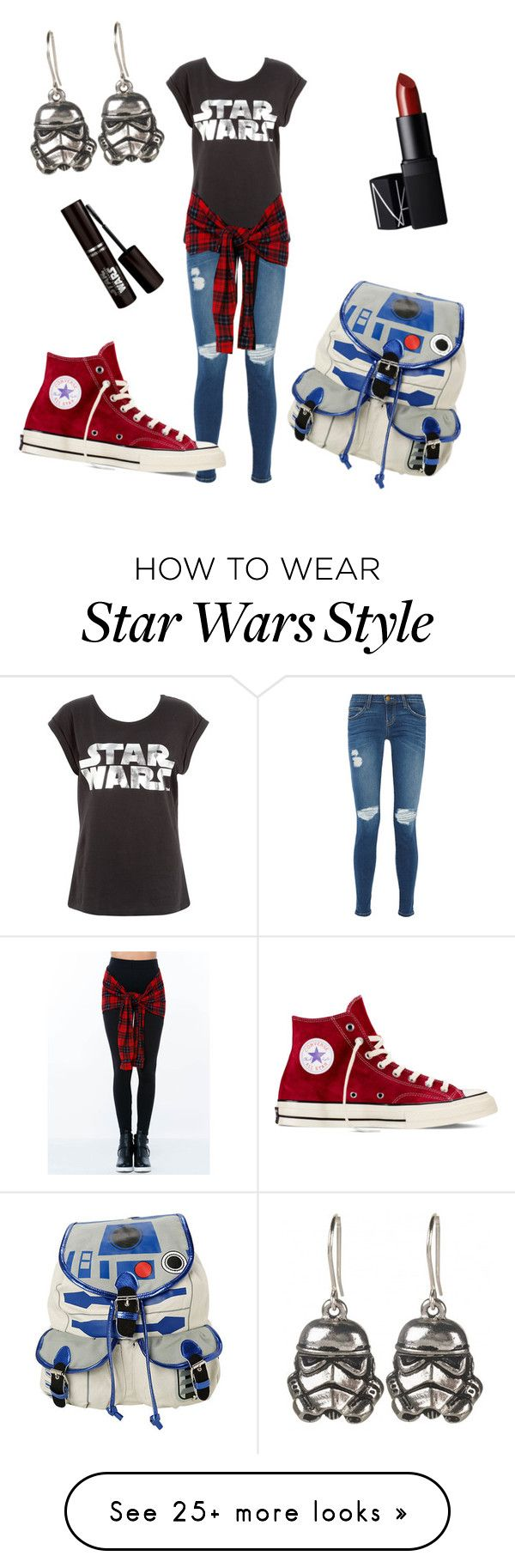 """Can't wait for the force awakens!"" by lydiaviolet on Polyvore featuring Current/Elliott, R2, Converse and NARS Cosmetics"