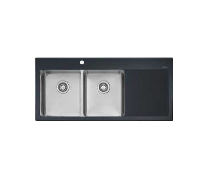 Vetro Left Hand Double Bowl with Right Hand Drainer Sink