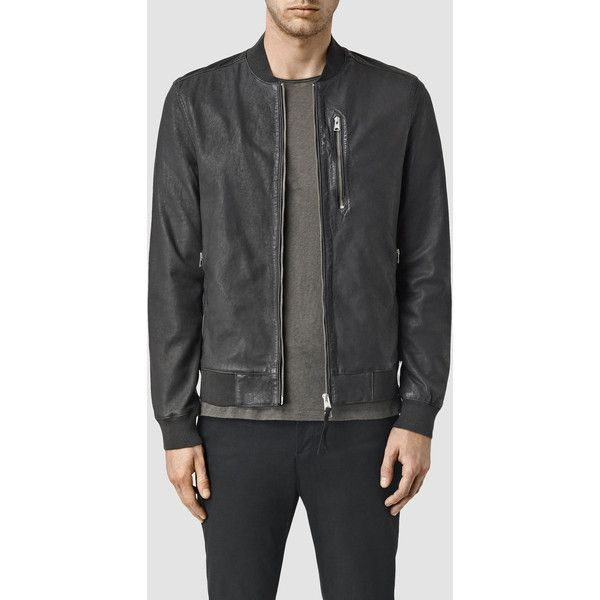 AllSaints Kino Leather Bomber Jacket ($294) ❤ liked on Polyvore featuring men's fashion, men's clothing, men's outerwear, men's jackets, ink navy, mens leather jackets, mens navy blue jacket, mens real leather jackets, mens bomber jacket and mens navy jacket