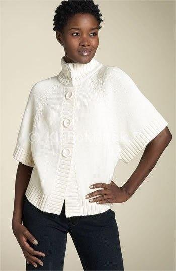 Меланжевый пуловер-пончо спицами   Вязание для женщин   Вязание спицами и крючком. Схемы вязания.