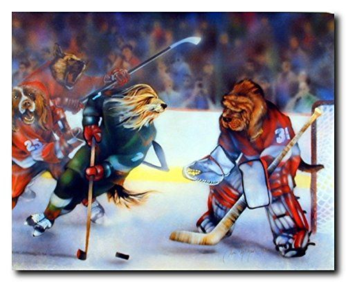 Wow. Look at this beautiful dogs playing hockey poster. This poster adds a magic of fun and charm on your kids room and it is also suitable for sports loving persons as well. This animal wall poster will transform any room into an exotic natural environment. This beautiful dogs playing hockey funny art print poster goes well in any décor style. Ensures high degree of quality papers and 100% color accuracy.