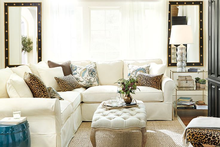 Living room with leopard print pillows