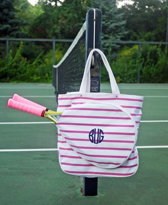 This grand slammin' Monogram Tennis Bag will have you playing on the court in style! Preppy tennis racket tote holds 2 tennis rackets with other compartments.