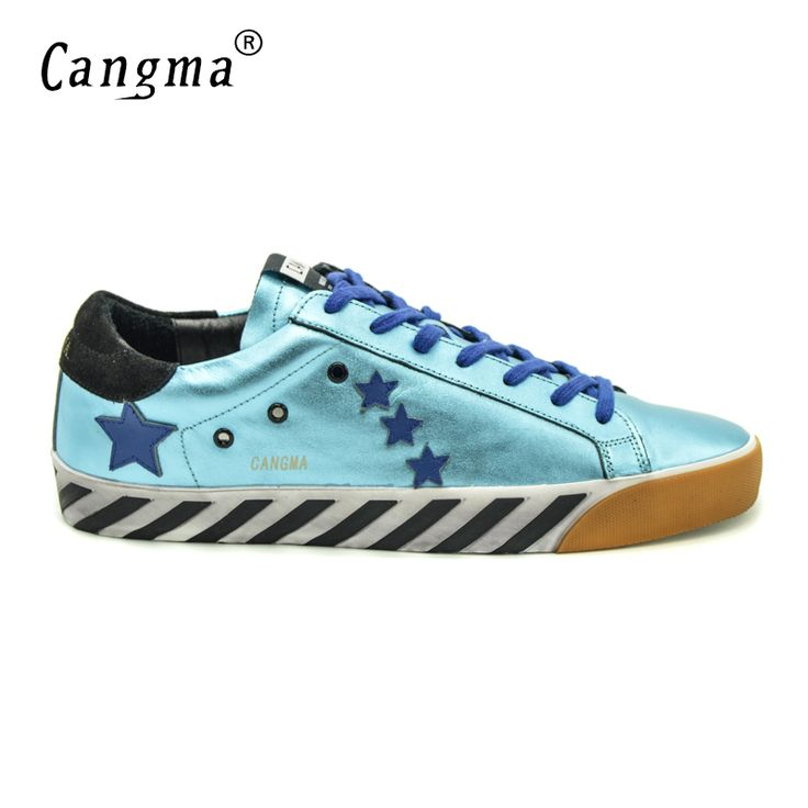 CANGMA Mens Fashion Comfortable Shoes Genuine Leather Footwear Superstar Men Casual Blue Handmade Shoes Original Herenschoenen