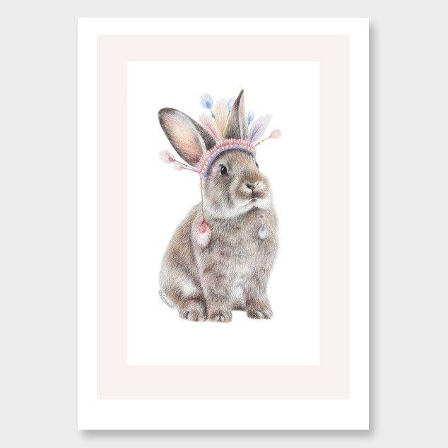 Chief Bunny Art Print by Olivia Bezett