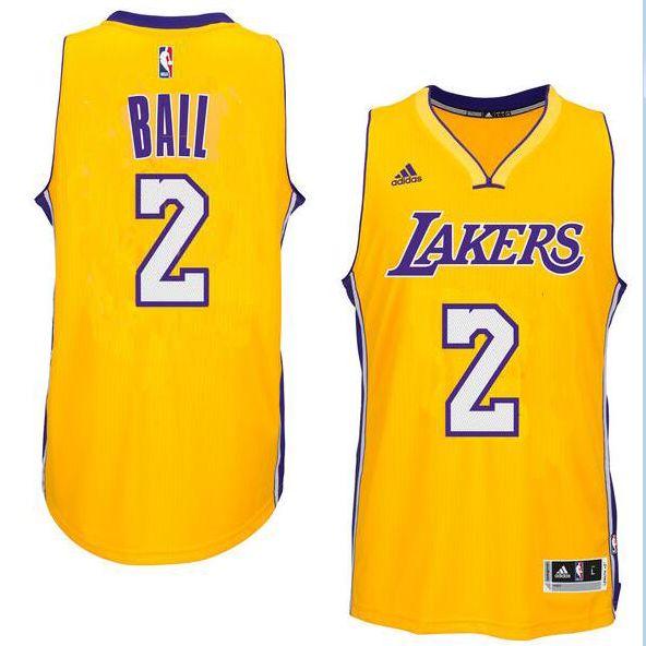 Men's Los Angeles Lakers Lonzo Ball adidas Gold 2017 NBA Draft Pick  Swingman home Jersey