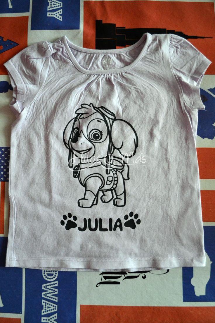 Primera participación en Menuda inspiración de La Pantigana, con camisetas de Elsa de Frozen y Skye de La Patrulla Canina, realizadas en vinilo textil flex.