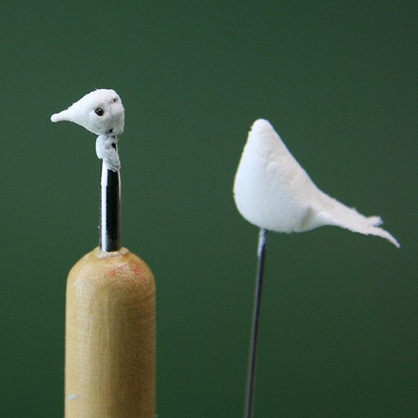 Make Miniature White Doves or Pigeons From a Variety of Modelling Materials: Make the Head and Beak For a Dollhouse Miniature Dove