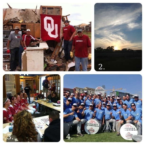 """1. Coach Jay Norvell and Joe Castiglione help with cleanup in Moore 2. A gorgeous Oklahoma sunset 3. Some of the Sooner Softball Superstars talking with ESPN talent. 4. OU Baseball took home the BIG 12 Championship looking super stylish in their baby blue OklaHOME undershirt tees.  Both softball and baseball have played for """"Moore"""" than themselves."""