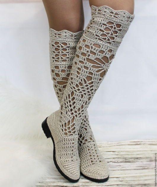 """Обувь ручной работы. Ярмарка Мастеров - ручная работа. Купить Льняные сапоги """"Пелагея"""". Handmade. Бежевый, Вязаные сапоги"""