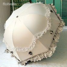 2016 Princess brand new arched creative folding umbrella sun umbrella lace parasol umbrella rain women guarda chuva(China (Mainland))