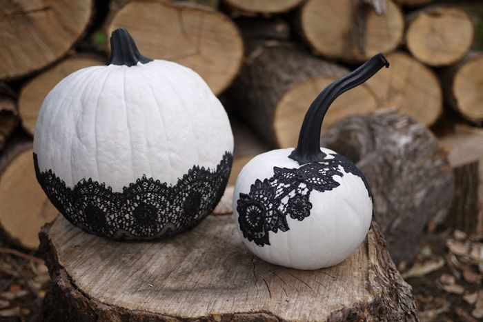 Paint and lace make these pumpkins worthy of a fall wedding