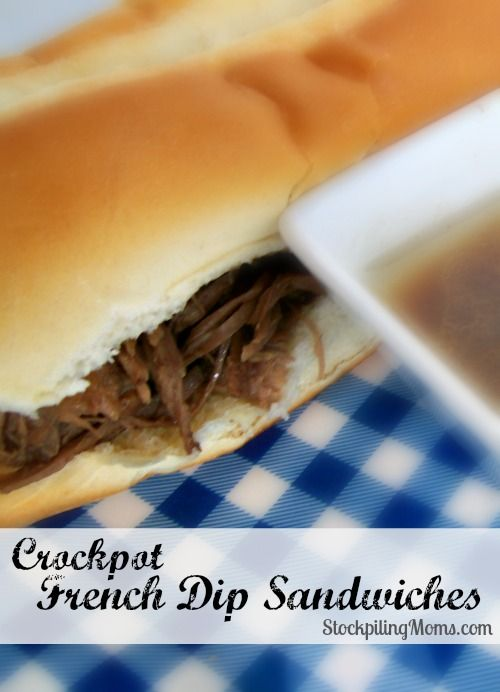 Crockpot French Dip Sandwiches are delish! Only 2 ingredients into crockpot and 8 hours later you have wonderful tasting sandwiches! #crockpot #slowcooker