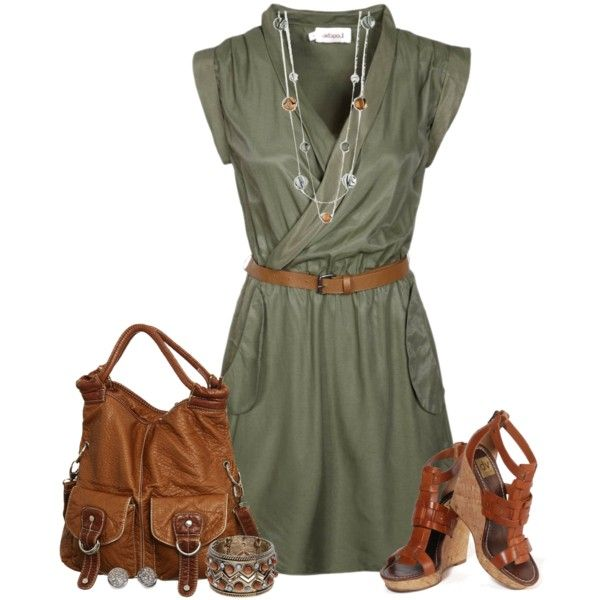 simple outfits - dress olive with brown