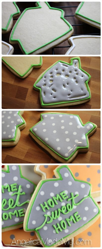 Home SWEET Home. Cute little house cookies. Housewarming party idea?.