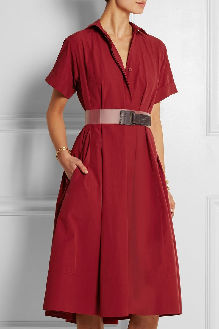 Donna Karan New York|Belted cotton-poplin dress|NET-A-PORTER.COM