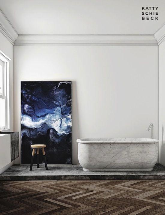 Etc Inspiration Blog Modern Barcelona Apartment By Katty Schiebeck Bathroom Andreas Nicolas Fischer Painting Marble Bathtub Herringbone Parquet Wood Floors photo Etc-Inspiration-Blog-Modern-Barcelona-Apartment-By-Katty-Shiebeck-Bathroom.jpg