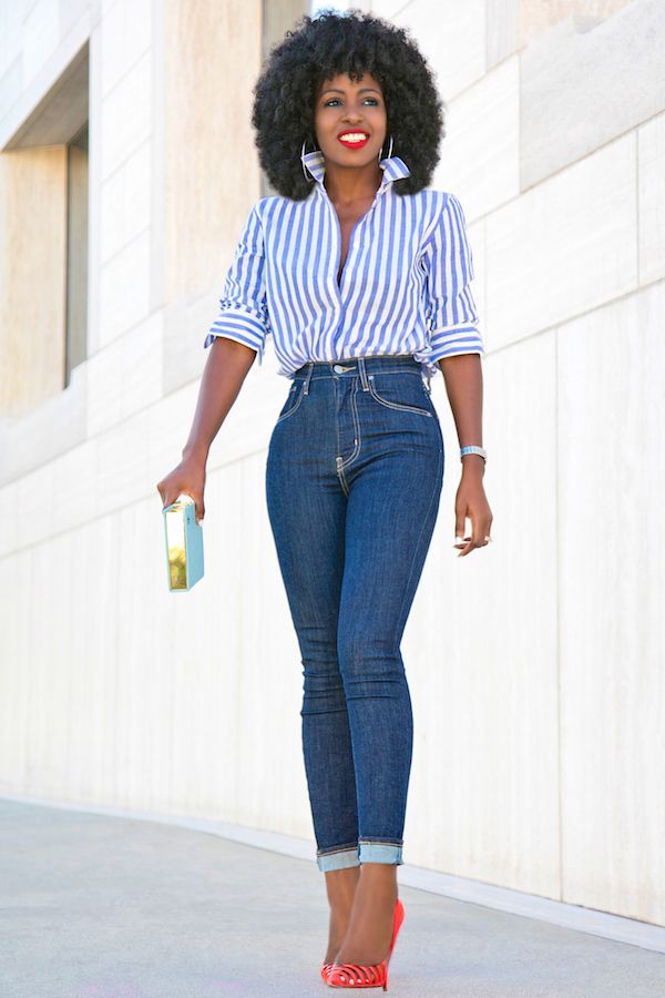 Style Pantry | Striped Button Down Shirt + High Waist Levis Jeans