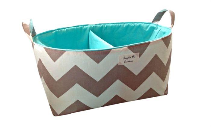 XLarge Fabric Nappy Caddy - Storage Organiser Basket - Grey Chevron with Aqua