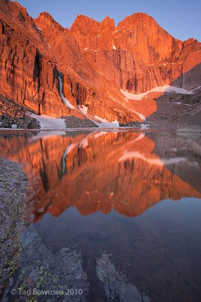 Chasm Lake, Rocky Mountain National Park- this beautiful hike takes you to this gorgeous glacier lake next to Longs Peak's east face.