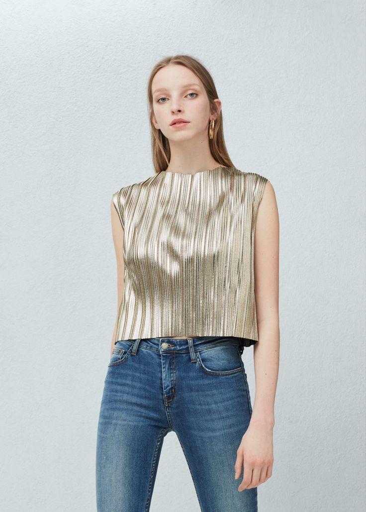 Metallic pleated top | MANGO