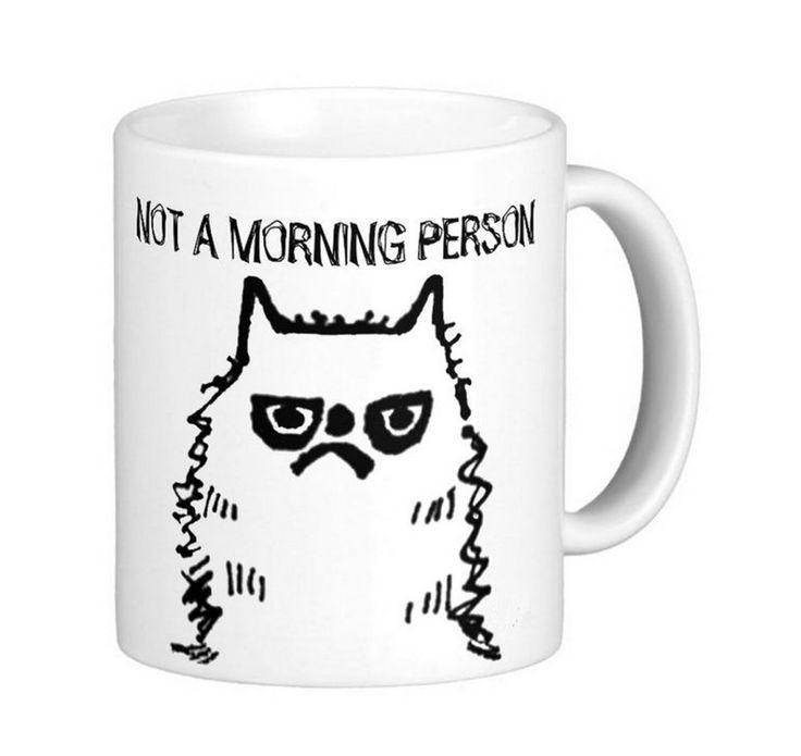 Grappige Kat Niet een ochtend persoon Wit Koffie Mokken Thee mok Aanpassen Gift…