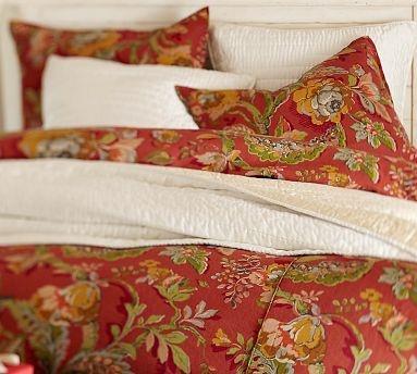 Vanessa Floral Duvet Cover Amp Sham Red Potterybarn