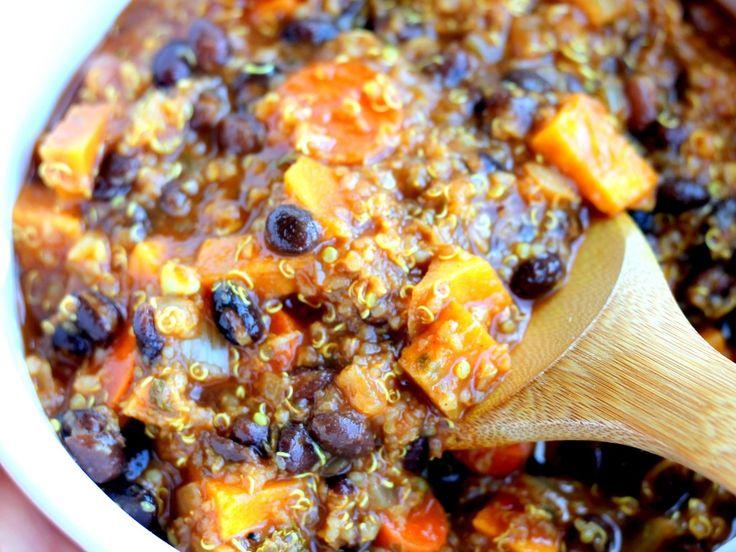 Black Bean, Sweet Potato, and Quinoa Chili ...skip the Smoked Chipotle ...