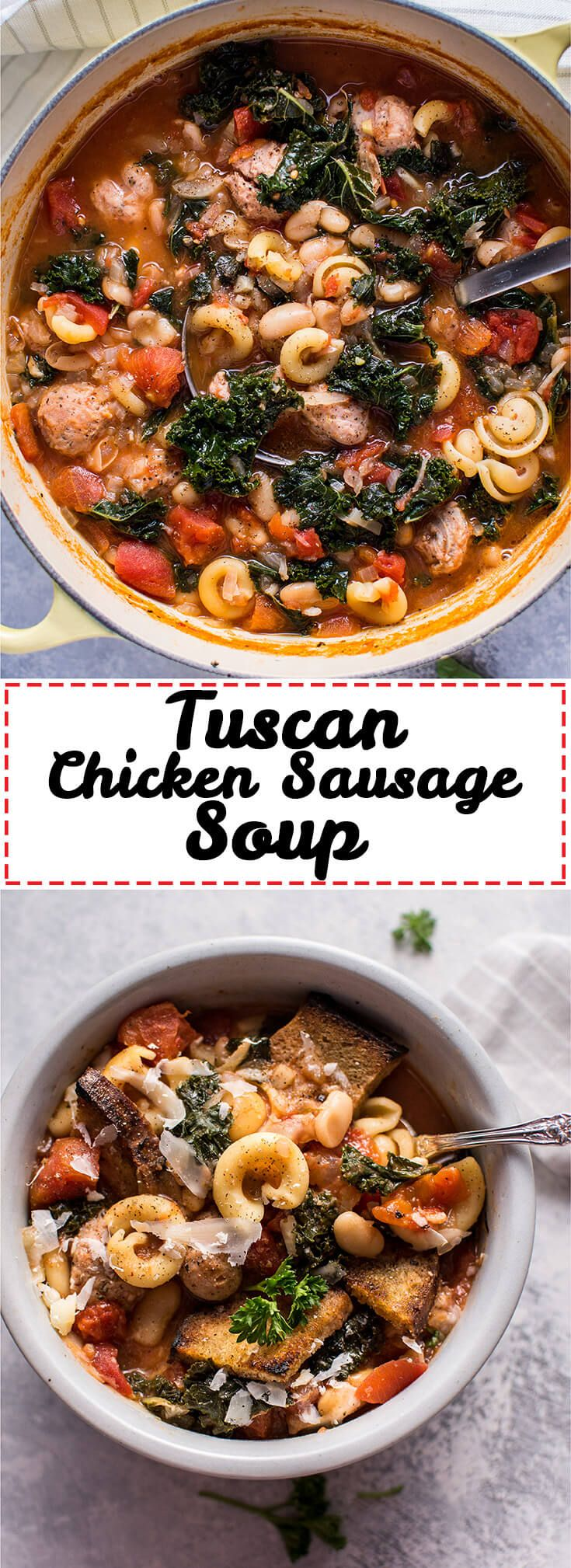This Tuscan chicken sausage soup with white beans and pasta is healthy, hearty, and full of flavor! Optional garlic croutons and parmesan shavings make it extra delicious.