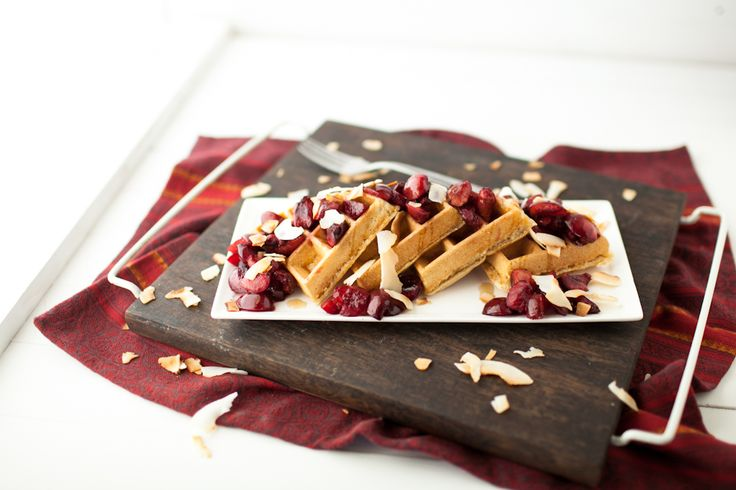 Coconut Waffles with Roasted Maple Cherries! Substituted the cherries ...