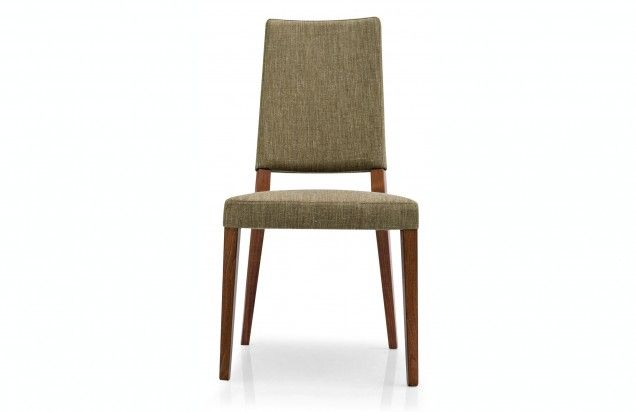 Chair with a classic wooden frame, suitable for dining rooms. The seat and backrest cover is made from Gummy, a smooth soft synthetic fabric that is practical because easy to clean. Highly comfortable chair thanks to the seat supported by elastic belts.