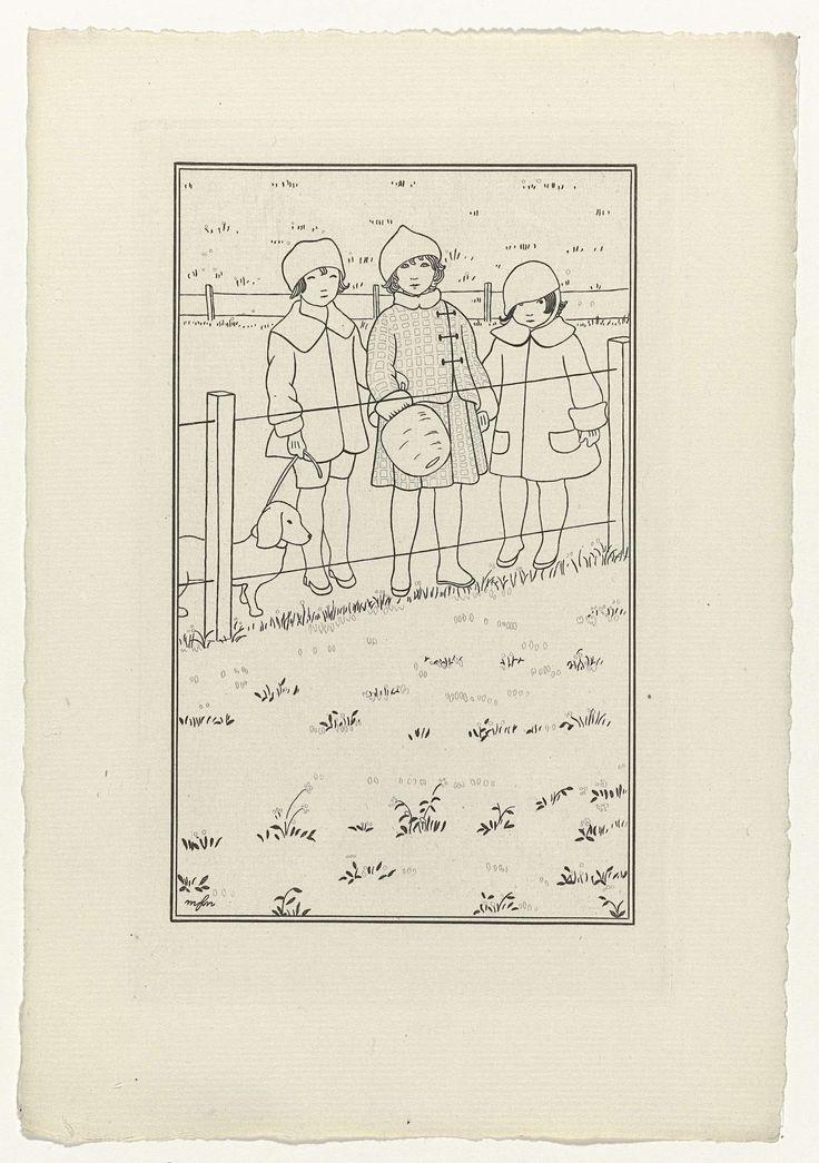 Anonymous | Journal des Dames et des Modes, Costumes Parisiens, 1914, No. 147, Anonymous, 1914 | Costumes du matin. Drie kinderen gekleed in kostuums voor de ochtend. Zij staan bij een hek, één van hen heeft een hond aan de lijn. Proefdruk van een prent uit het modetijdschrift Journal des Dames et des Modes (1912-1914).
