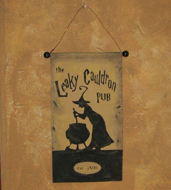 Hand Painted The Leaky Cauldron Pub Sign Canvas Banner By