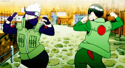 """Kakashi and Gai wiht a seeeexy booty move!! XD (""""I like to move it"""": song)"""