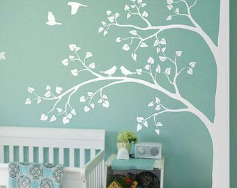 White Tree Wall Decal Huge Corner Tree with Leaves by StudioQuee