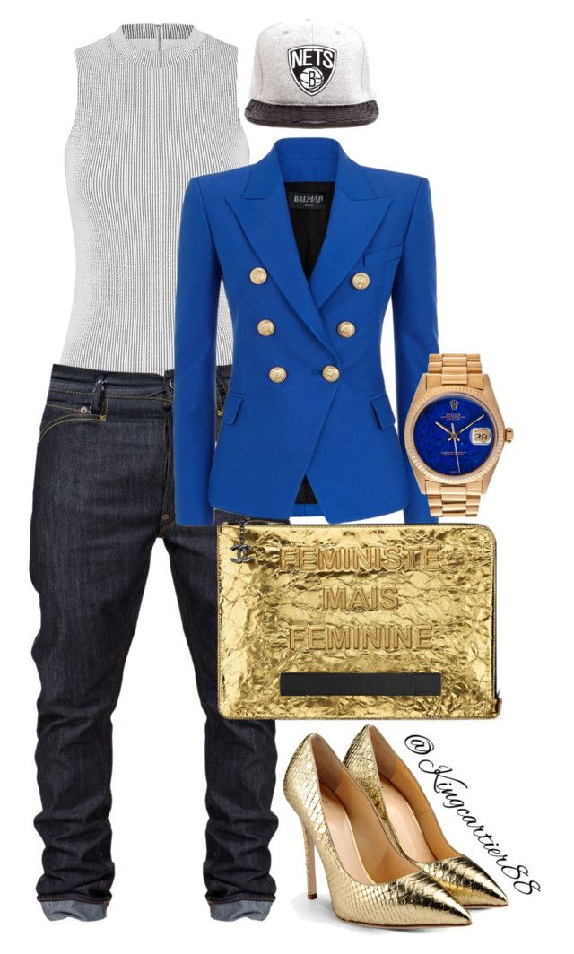 """Like a boy."" by jusgram88 ❤ liked on Polyvore featuring JUST DON, Giuseppe Zanotti, Balmain and Rolex"