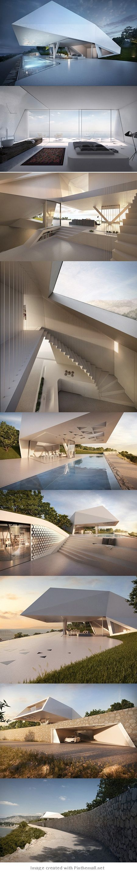 This residence appears to be an extruded prism with a ground level pool that recedes down a steep slope to showcase a unique staircase and sunken spaces all with amazing ocean views from Rhodes, Greece. [Villa F | Hornung and Jacobi Architecture of Germany]