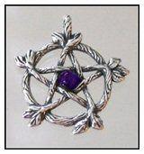 Pendant - Twig Pentacle/Pentagram - Silver & Amethyst | The Magickal Cat Online Pagan/Wiccan Shop