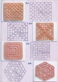 gráficos de blocos de crochê