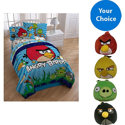 Angry Birds Twin Comforter Sheet Set And Potbellie Value Buddle Kids Teen
