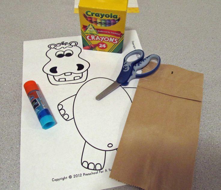 Online Preschool Program, supplies needed for Letter H-hippo preschool craft. preschoolforayear.com