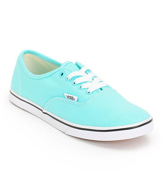 Add a pop of color to any outfit with the Vans Authentic Lo Pro Aqua Splash and True White shoe. The durable canvas upper is constructed on top of a vulcanized rubber outsole with Vans micro-waffle tread for grip, while the slim design and low profile of