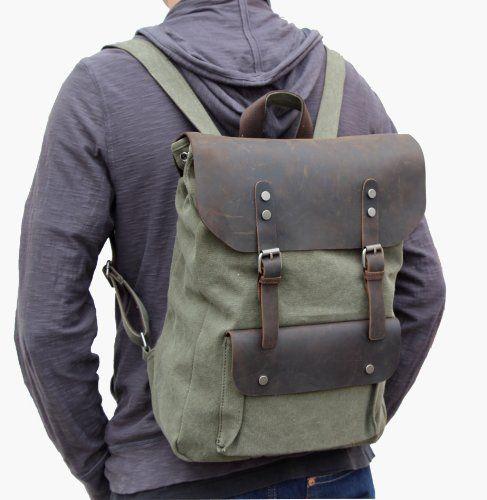#Otium 30205AMG Canvas Genuine Leather BagPack,Army Green