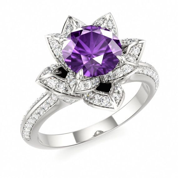 Amethyst Engagement Ring in 14k White Gold