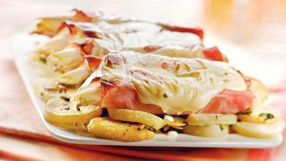 Ovenschotel van witlof met ham-kaassaus