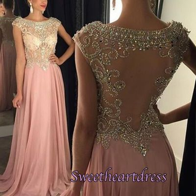 2016 cute pink chiffon sequins prom dress with sleeves, ball gown, prom dresses long #coniefox #2016prom