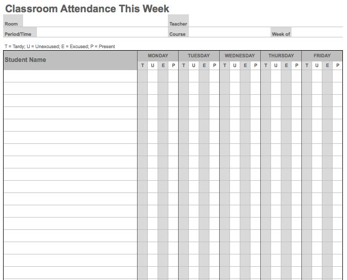 Attendance List. Class Register Template Class Register Template ...